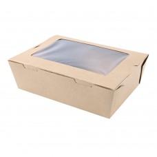 Škatla za hrano iz kraft papirja z PLA okencem MENU